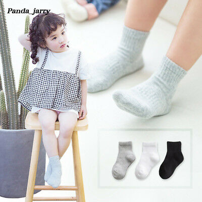 Gril Soild Cotton Socks 3 Pairs No-slip Boys Cute Comfort Short Socks Baby Kid