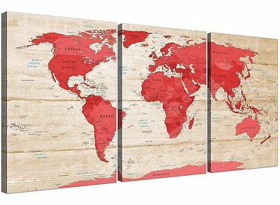Large Red Cream Map of World Atlas Canvas Wall Art Prints - Multi 3 Panel - 3311