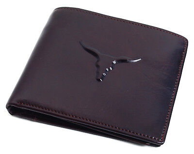 Genuine Mens Leather Wallet ZIPPER Coin Purse Vintage Retro Style