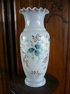 Antique Hand Painted Floral Opaque Bristol Glass Vase