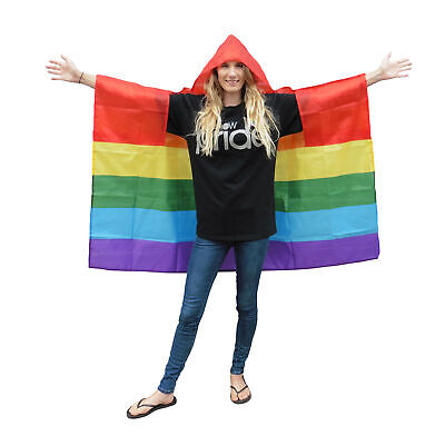 Wearable Rainbow Gay Pride Flag Poncho With Hood One Size Fits All