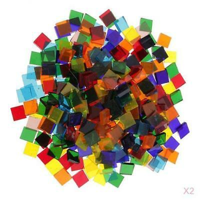 500pcs Colorful Clear Glass Pieces Mosaic Tiles Tessera for Craft 10x10mm