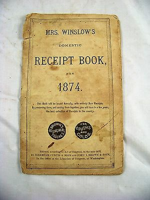 1874 Mrs Winslows Receipt Book Browns Bronchial Troches Coughs & Colds