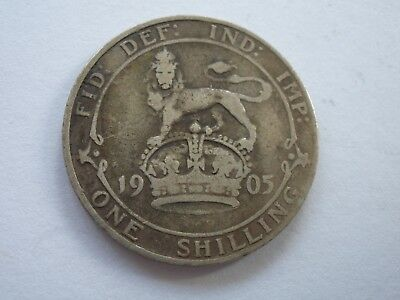 1905 Edward Vii Silver Shilling - Nf/f - Rare - Uk Post Free