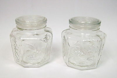 Lot De 2 Pots En Verre Octogonaux Decor Fruits Et Legumes