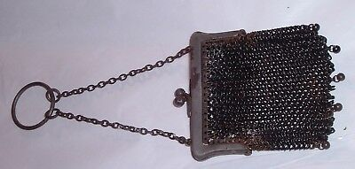 Antique Victorian ladies Tassels Mesh Purse Marked France / Gun Metal 1800s
