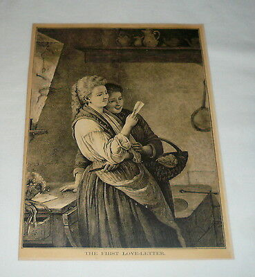1877 magazine engraving ~ THE FIRST LOVE-LETTER