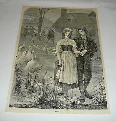 1878 magazine engraving ~ GAGGLE OF GEESE FOLLOWING A YOUNG COUPLE