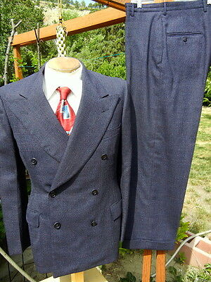 VTG 1940s DOUBLE BREASTED Suit 37R 32x28 Alterable Button Fly War Years Gangster