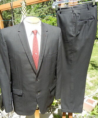 VTG 1960s Black Suit 44R 34x28 Alterable Blues Brothers Unit with Skinny Lapels