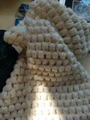 Hand crocheted ivory color wool blend scarf