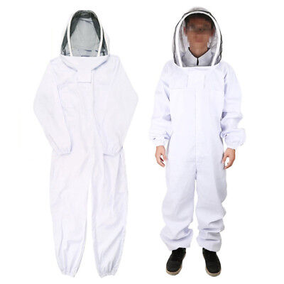 Beekeeping Coverall Suit Veil Hood Bee Keeping Hat Pull Over Body Hood White L