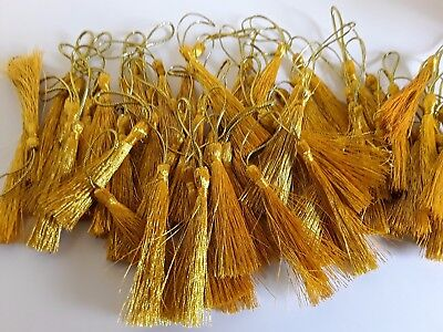 ~50 plus 10 FREE ~GOLD~ Polyester Tassels for crafts with loop 80mm~IN OZ