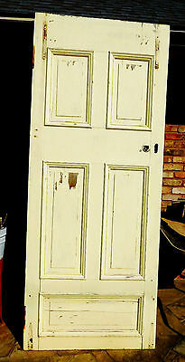 "88"" x 36"" Antique 5 Panel Vtg Interior Inside Tall Door Solid Wood Old Hardware"