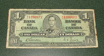 1937 Bank Of Canada One Dollar Bill D.gordon & G.f.towers