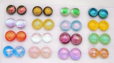 FOR POST EARRINGS TINY Lot 32 pcs round gorgeous DICHROIC FUSED GLASS (E13)
