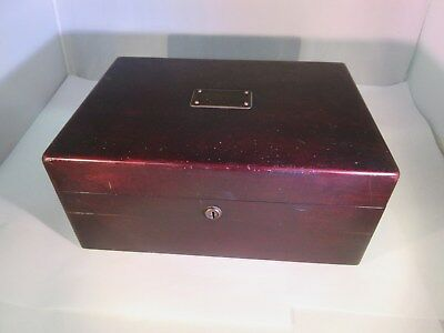 Vintage Antique Solid Wood Humidor Tin Lined No Key  G-318
