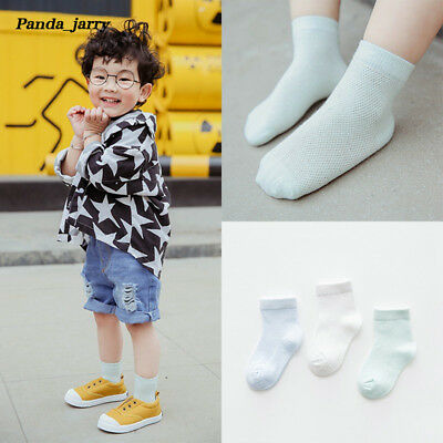 Children Mesh Short Socks Boys Girls Breathable Invisible Cotton Socks 3 Pairs