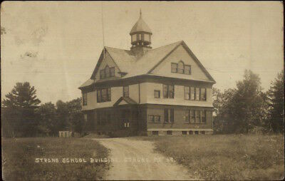 Strong ME School Building c1910 Real Photo Postcard