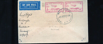 1937 First Flight Airmail Cover New Zealand  BL1314