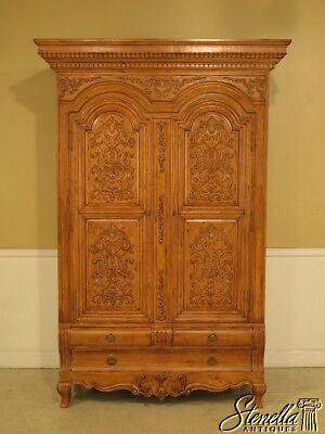 41431E: GUY CHADDOCK Carved 2 Door Armoire Wardrobe