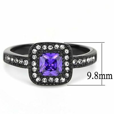 0.55Ct Princess Cut Violet CZ Black IP Stainless Steel Anniversary Cocktail Ring