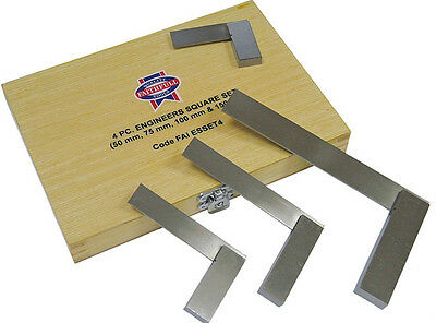 FAITHFULL SS/A/2-3-4-6 ENGINEERS SQUARE SET (50, 75,100 & 150mm) + STORAGE CASE