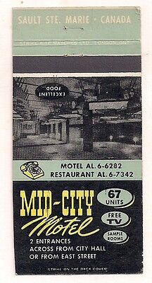 Mid-City Motel Sault Ste. Marie ON Ontario Matchcover 082217