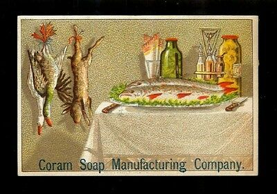Sportsman's Fish Dinner & Freshly Caught Game-1880s Victorian Trade Card