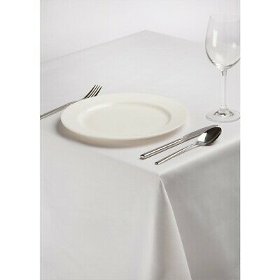 Rectangular Polycotton Tablecloth White 54 x 108in BARGAIN