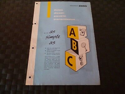 Coles Diesel-Electric Transmission Technical Data Ref. 2595 1958 Leaflet *read*