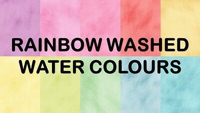 BRIGHT RAINBOW WASHED WATER COLOURS SCRAPBOOK PAPER - 10 x A4 pages