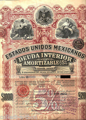 XXX-RARE PINK LADY 1000 PESO w PASS-CO! 1 OF HOTTEST MEXICO SPECULATIVE BONDS!!!