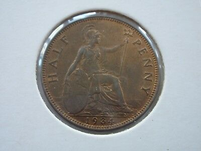 1934 George V Halfpenny - Uncirculated With Lustre - Uk Post Free