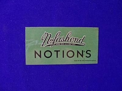 """Antique """"nufashond"""" Notions Tin Advertising Plate"""