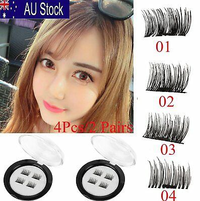 4X 3D Magnetic Eyelashes Handmade Long Natural Eye Lashes Extension Makeup OP