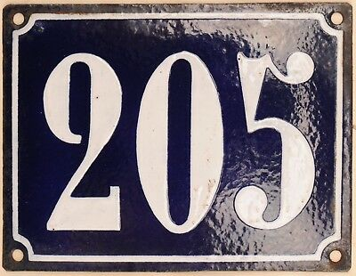 Large old blue French house number 205 door gate plate plaque enamel steel sign