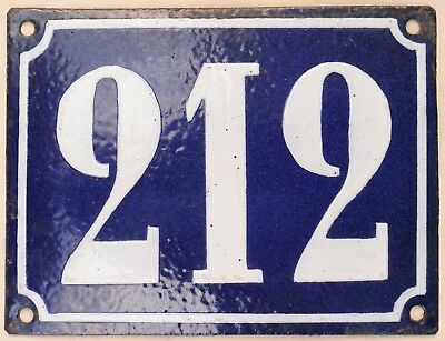 Large old French house number 212 door gate plate plaque enamel steel metal sign