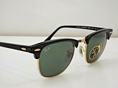 b909b12cf2 Authentic Ray-Ban RB 3016 W0365 Black Gold Green Clubmaster 51mm Sunglasses   190