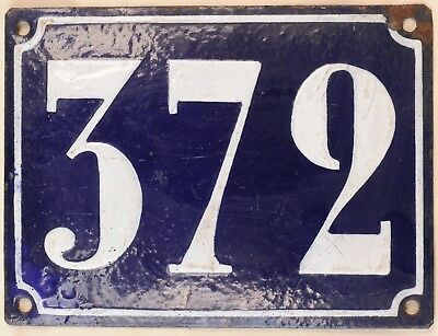 Large old French house number 372 door gate plate plaque enamel steel metal sign
