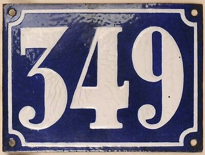 Large old French house number 349 door gate plate plaque enamel steel metal sign