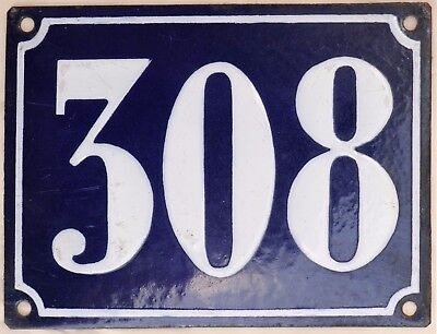 Large old French house number 308 door gate plate plaque enamel steel metal sign