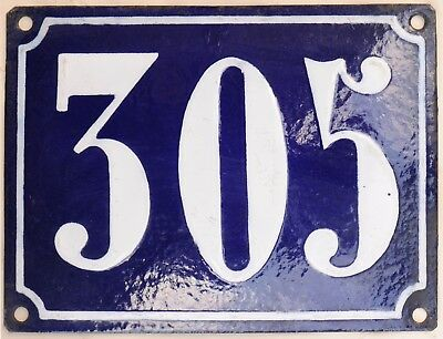 Large old French house number 305 door gate plate plaque enamel steel metal sign