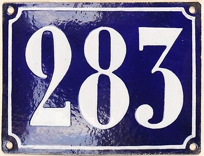 Large old French house number 283 door gate plate plaque enamel steel metal sign