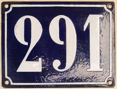 Large old French house number 291 door gate plate plaque enamel steel metal sign