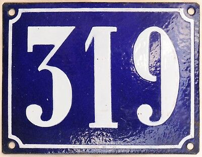 Large old French house number 319 door gate plate plaque enamel steel metal sign