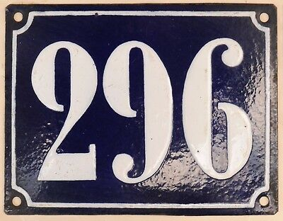 Large old French house number 296 door gate plate plaque enamel steel metal sign