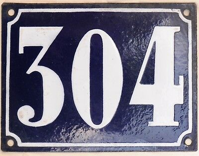 Large old French house number 304 door gate plate plaque enamel steel metal sign
