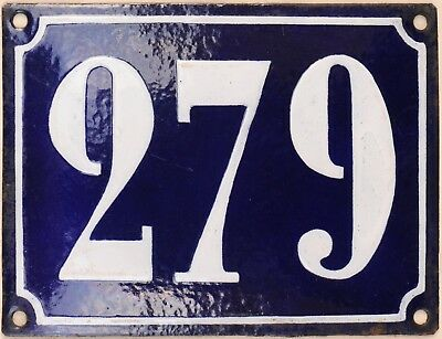 Large old French house number 279 door gate plate plaque enamel steel metal sign