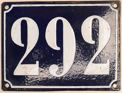 Large old French house number 292 door gate plate plaque enamel steel metal sign